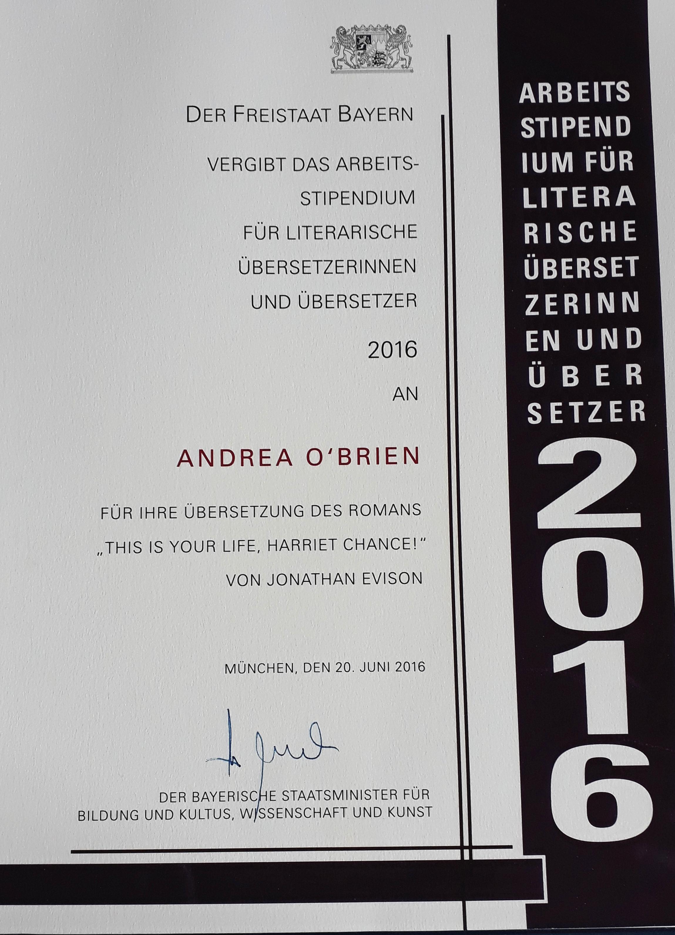 Stipendiumsurkunde Andrea O'Brien
